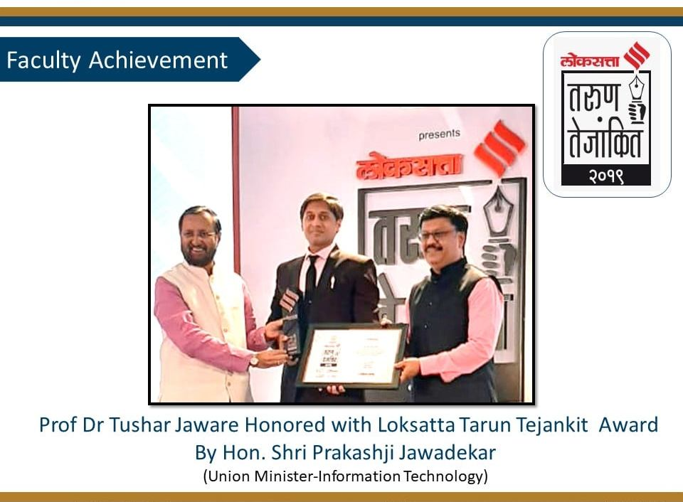 Prof Dr Tushar Jaware Honored with Loksatta Tarun Tejankit Award by Hon Shri Prakahji Jawadekar