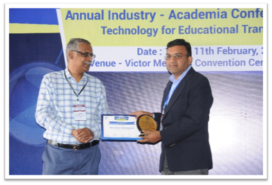 """Awarded as """"Best faculty award of the year"""" under sub category Specific innovations, manifest, prototypes and patents, at the TechNext India 2018 IIT Bombay in Annual Industry and Academia Conference and Awards (2018), Technology for Education transformat"""